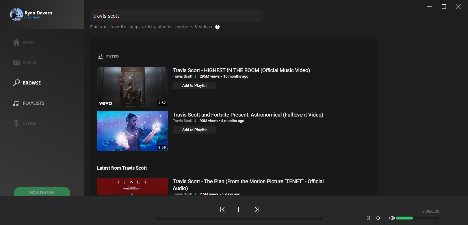 Browse Page lets you search for music, import playlists & view artists.
