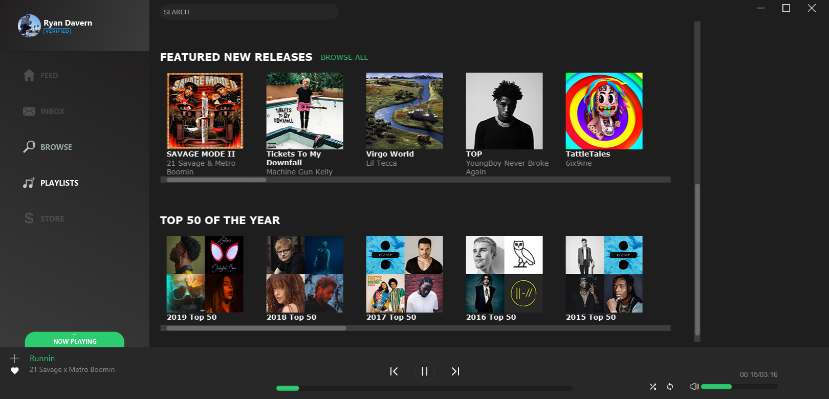 Playlist page also displays featured albums and custom curated playlists from billboard.